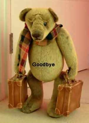 goodbye teddy bear with suitcases