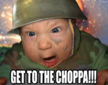 army baby get to the chopper