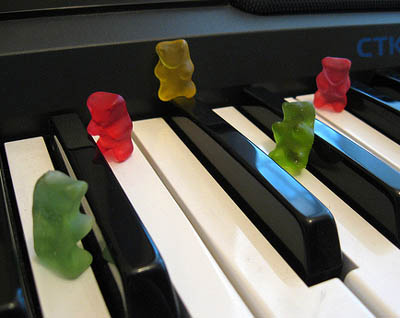 gummy bears on piano