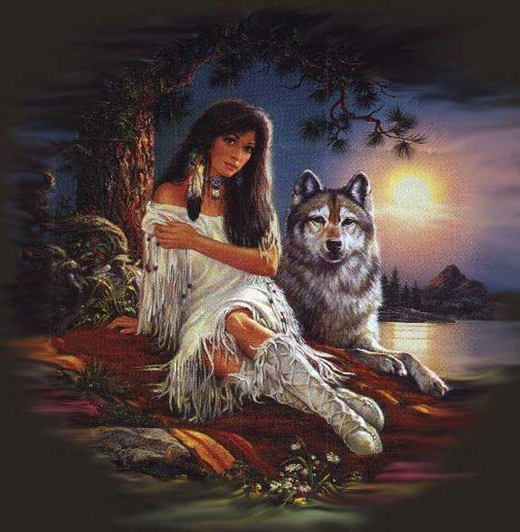 native american lady with wolf
