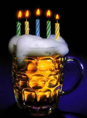 happy birthday beer and candles