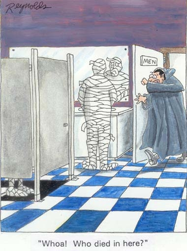 mummy and dracula vampire in bathroom