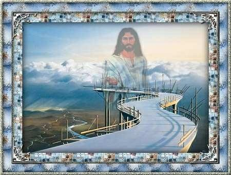 jesus standing over road