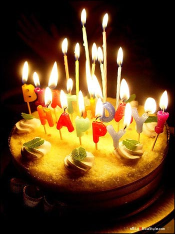 happy birthday cake and candles