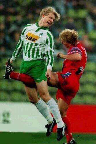 soccer player gets kicked in the balls