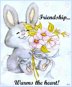friendship warms the heart bunny rabbit