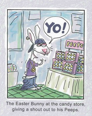 the easter bunny at the candy store giving a shout out to his peeps