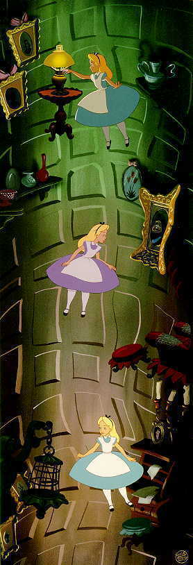 alice in wonderland falls down the rabbit hole