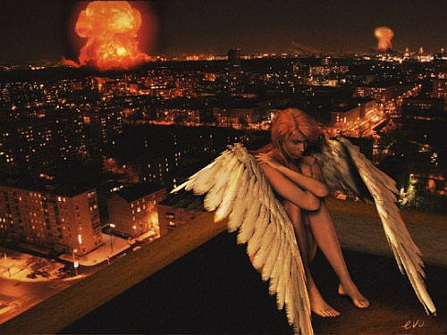 angel sits on rooftop of city with explosions