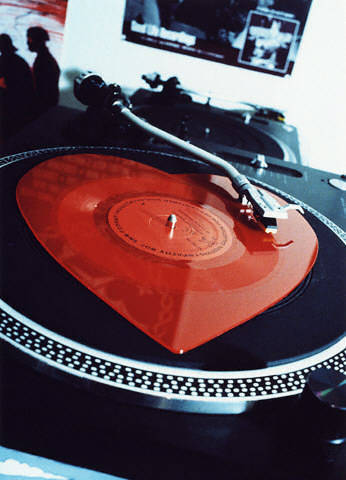 heart record on turntable