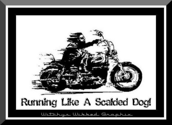 running like a scalded dog man on motorcycle
