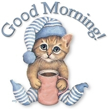 good morning cat with coffee