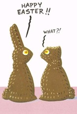 happy easter chocolate bunny gets ear cut off