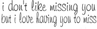 i dont like missing you but i love having you to miss
