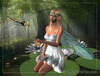 Search fairy sitting on lilypad with dragonfly